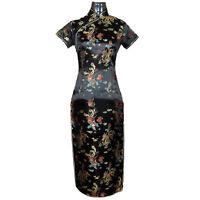 Vtg Women Black Dragon Long Chinese Evening Dress Cheongsam Qipao Gown Sz S-6XL`