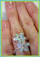Genuine Ethiopian Welo Opal Tanzanite Ring Platinum Sterling Silver 925 size 10
