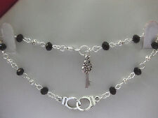"Tibetan Silver Handcuffs & Key Charms 50 Shades Of Grey 9"" Anklet"