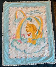 Vintage 1985 Care Bears American Greetings Baby Crib Quilt Blanket 34�x43�