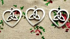 Heart charms 2 silver celtic knot pendant jewellery supplies C673