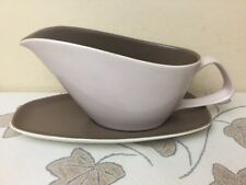 Poole Twintone Mushroom & Sepia Gravy / Sauce Boat & Stand Lovely Condition