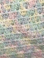 Vintage Crochet Afgan Blanket Baby Pastels Mint Hand Made  89x53 Twin
