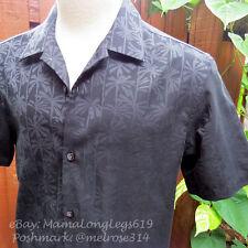 Tommy Bahama Island Modern Fit Linen Shirt Sz S Black Palm Tree Wedding