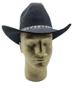 Western Express Black Faux Felt Cowboy Hat With Blue Band Size 6 5/8  NWT