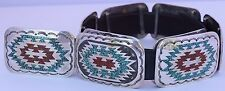 Navajo Sterling silver coral turquoise chip inlay huge concho belt Elkie Tsosie