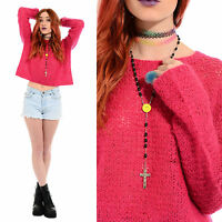 Vintage 90s Pink FUZZY Mohair Wool Jumper Sweater Crop Top Grunge Clueless Rave
