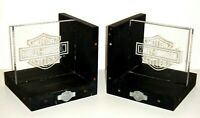 """Harley Davidson Wood and Glass Book Ends - Pre-owned """"AS IS"""""""