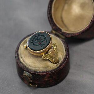 Rare Georgian Antique Bloodstone Mourning Ring Circa. 1820s 18ct Yellow Gold