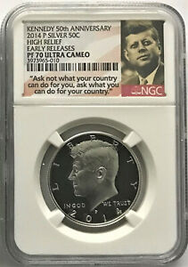 2014 P SILVER KENNEDY HALF DOLLAR 50C HIGH RELIEF PROOF EARLY RELEASES NGC PF70