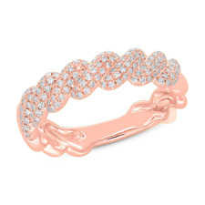 0.38 CT 14K Rose Gold Round Pave Diamond Twist Braided Band Ring Womens Wedding