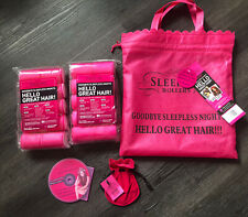 NEW SLEEP IN Pink HAIR ROLLERS Foam Pack 20 Large Curlers BAG CLIPS DVD