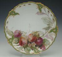 NYMPHENBURG ROYAL PORCELAIN PIERCED STRAWBERRIES PLATE ART NOUVEAU XIX CENTURY