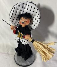 "RARE Annalee Halloween Doll ~ WITCH ELF (Black & White Polka Dots) ~ 8"" Tall"