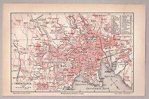 Norway, Norwegen, Oslo, Christiania - Karte, Stadtplan - Lithographie 1895 *****