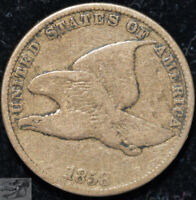 1858 Flying Eagle Cent, Small Letters, Penny, Very Good+ Condition, USA, C5064