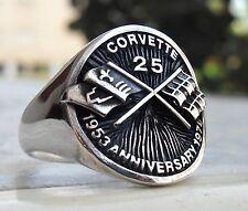 Corvette Sport Car Heavy 3D 25 Anniversary Race Car Ring Sterling Silver 925