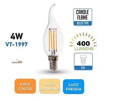 LAMPADINE V-TAC LED E14  4W LAMPADA FILAMENTO GLOBO SFERA FIAMMA TORTIGLIONE