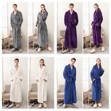 Mens Womens Fleece Waffle Long Bath Robe Luxury Lightweight Dressing Gown Robe