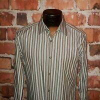 Hugo Boss Men's Oxford Slim Fit Shirt M Brown Gray Striped Slim Fit EUC