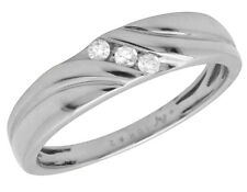 Men's Solid 10K White Gold Genuine Diamond Engagement Wedding Ring Band 0.15ct.