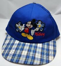MICKEY MOUSE DISNEY hat cap blue disneyland OSFA unlimited plaid flowers