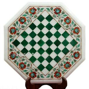 Stone Inlay Art Coffee Table Top White Marble Game Board Table Size 15 Inches