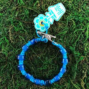 HOTI Hemp Handmade Bracelet Mens Turquoise Glass Hockey Puck Beaded Roach Clip