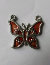 METAL BUTTERFLY PENDANT/ HAND PAINTED ORANGE / HIPPY / TRIBAL