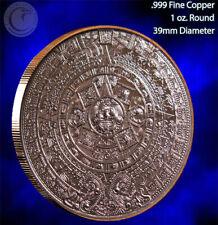 """Aztec Calendar"" 1 oz .999 Copper Round Beautiful Design"