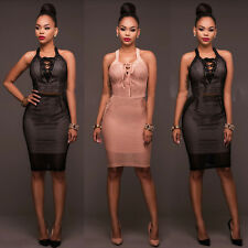 Womens Party Bodycon Dress Ladies Evening Lace Cocktail Dress Size 6 - 14 LU