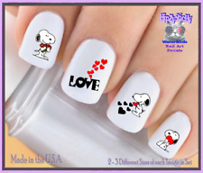 24 Nail Decals #7618 VALENTINES Cupid Dog LOVE Hearts WaterSlide Nail Transfer