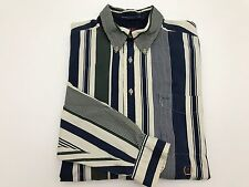 TOMMY HILLFIGER LONG SLEEVE BUTTON UP SHIRT VINTAGE BLUE GREEN WHITE MENS L EUC