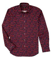 Bugatchi $149 Shaped Fit Floral Branch Long Sleeve Button Up Shirt Cerise XL NWT