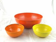 Fiesta Lot Of 3 Vtg Painted Metal Popcorn Bowls 1950s Fiestaware Tin Ware Rings