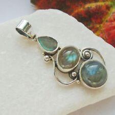 Labradorit, blau, grün, modern, Edelstein, Amulett Anhänger, 925 Sterling Silber