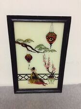 Vintage Asian Reverse Paiting on Glass with Tin Foil Black Frame