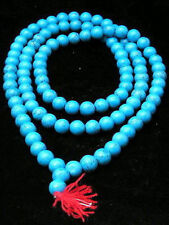 Rare 108 Tibetan Buddhist TURQUOISE 10mm Prayer Beads Necklace -Wholesale prices