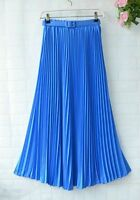 Women Pleated Retro Maxi Long Skirt Elastic Waist Chiffon Dance Dress+free belt