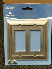 Dual Switch Plate Outlet Cover Rocker Toggle Light Wall Plate - Brushed Nickel