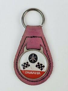 Vintage Yamaha leather keychain keyring metal back Pink