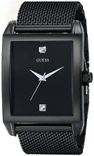 New Guess Men U0298G1 Black Dial Diamond Stainless Mesh Black Band Watch