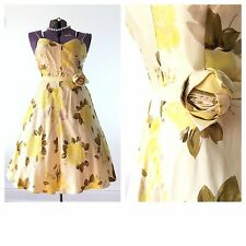 Vintage 1950s 50s style retro pinup costume banana republic floral silk size 6