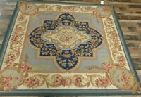 7'x7' Square Blue French Aubusson Weave Classic Hand Knotted wool Oriental rug