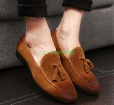 Mens Tassel Suede Leather Slip On Loafers Flats Dress Vintage Retro Shoes Pumps