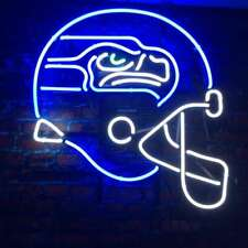 "Seattle Seahawks Helmet Neon Lamp Sign 20""x16"" Bar Light Beer Glass Display"