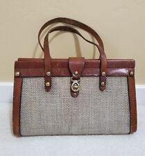1960's John Romain Leather & Tweed Footed Trunk Satchel Bag