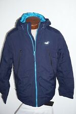 NWT MENS HOLLISTER ALL WEATHER NAVY & BLUE HOODED JACKET SIZE LARGE