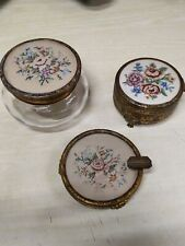 Vintage Gold trio Ashtray/pin dish/glass with Floral Needlepoint Tapestry 1930's