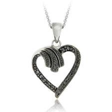 Black Diamond Accent Classic Heart Necklace